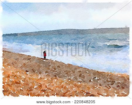 Digital watercolor painting of a woman wearing a red coat standing on the shore of the beach looking out at the sea with land in the distance. With space for text.