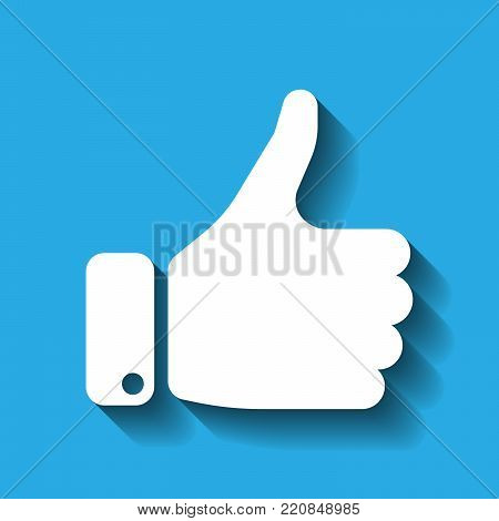 White hand silhouette with thumb up on blue background. Gesture of like, agree, yes, approval or encouragement. Vector illustration with dropped shadow.