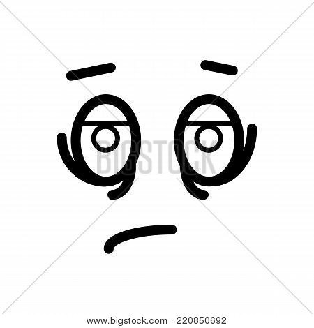 Sad, tired smiley face emoticon line art icon for apps and websites. vector icon, eps 10