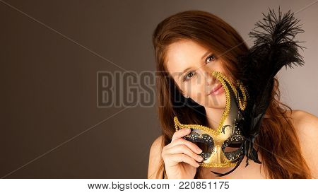 Atractive Young Woman With Venice Mask Studio Portrait