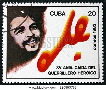 CUBA - CIRCA 1982: a stamp printed in the Cuba shows Ernesto Che Guevara, 15th death anniversary, circa 1982