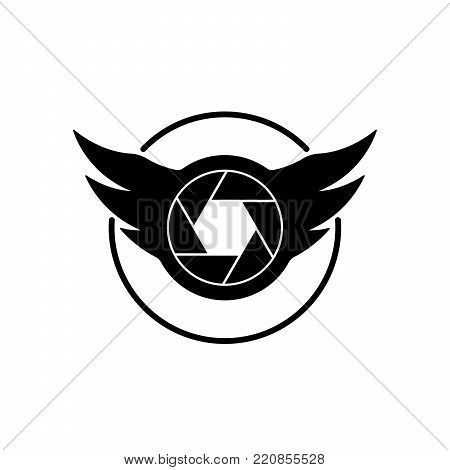 Shutter and wings shaped camera logo on white background.. Wings shaped camera icon.