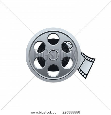 Film reel with filmstrip on white background. Realistic vector design.