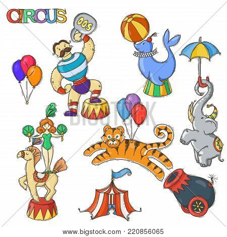 Circus cartoon icons collection with chapiteau tent and trained wild animals. Vector doodle illustration set