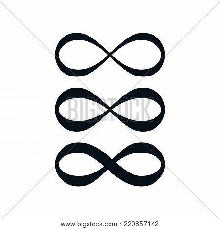 Simple infinity symbol set on white background.