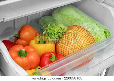 Fresh vegetables in refrigerator