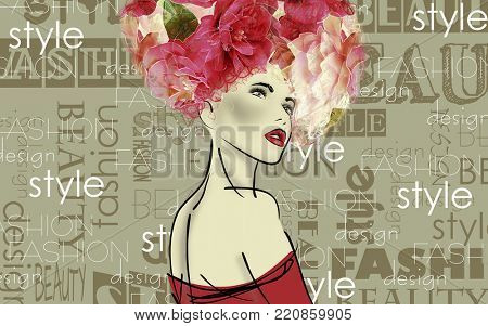 art colorful sketched beautiful girl face in mixed media style with red floral curly hair on olive background with word fashion, style, model, design