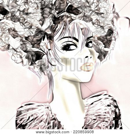 art monochrome black, grey, pink and white illustration with face of beautiful girl in profile with floral pattern afro funky curly hair, in party dress on white background in graphic