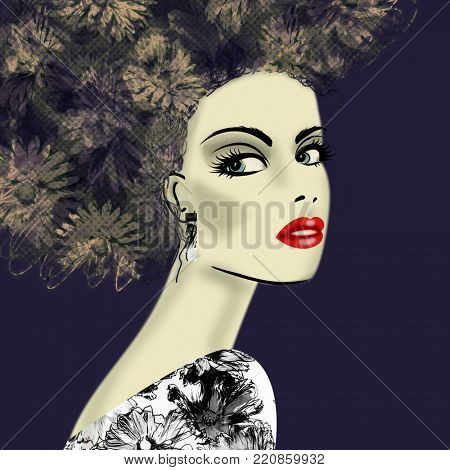 art colorful illustration with face of beautiful girl in profile with floral pattern afro funky curly hair, in black party dress on dark blue background in mixed media style