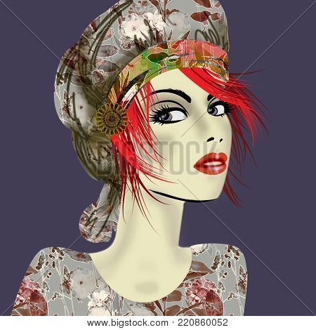 art colorful illustration with face of beautiful girl in profile with grey floral hat and red short hair, in party flowers dress on dark blue grey  background in mixed media style