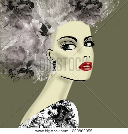 art colorful illustration with face of beautiful girl in profile with floral pattern afro funky curly hair, in black floral party dress on olive background in mixed media style