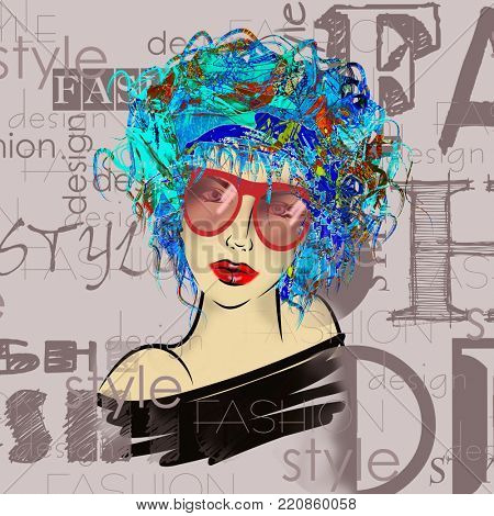 art colorful sketched beautiful girl face with eyeglasses in mixed media style with blue floral curly hair on light lilac background with word fashion, style, model, design