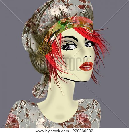 art colorful illustration with face of beautiful girl in profile with grey floral hat and red short hair, in party flowers dress on dark grey  background in mixed media style