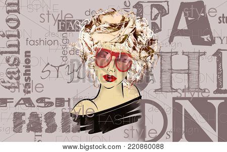 art colorful sketched beautiful girl face with glasses in mixed media style with floral curly hair on light lilac background with word fashion, style, model, design
