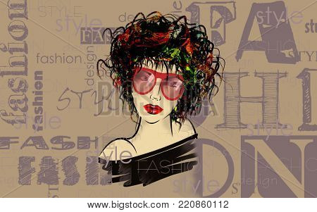 art colorful and monochrome sketched beautiful girl face in mixed media style with black floral curly hair on brown background with word fashion, style, model, design