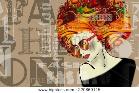 art colorful sketched beautiful girl face with glasses in mixed media style with gold and rainbow floral curly hair on brown background with word fashion, style, model, design