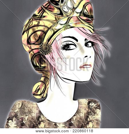 art colorful illustration with face of beautiful girl in profile with gold and black floral hat and short hair, in party flowers dress on dark grey background in mixed media style