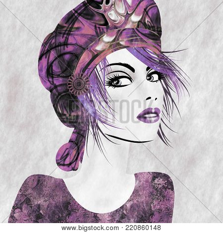 art monochrome lilac and purple illustration with face of beautiful girl in profile with hat and short hair, in party flowers dress on light background in graphic style