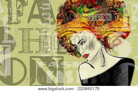 art colorful sketched beautiful girl face in mixed media style with gold and rainbow floral curly hair on olive background with word fashion, style, model, design
