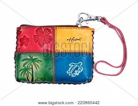 Hawaiian women's coin purse, pouch isolated on white background