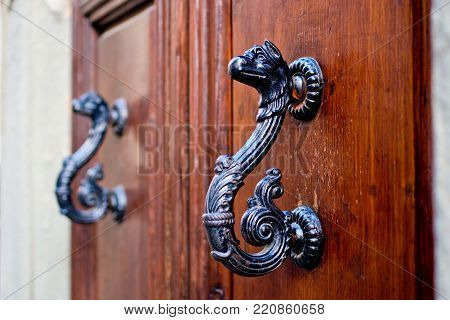 antique door with handles to open in the shape of a burnished and aged metal dragon