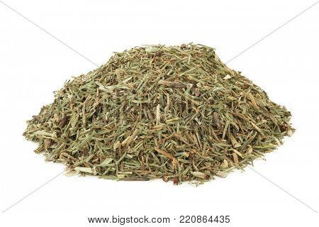 Horsetail leaf herb used in alternative herbal medicine and has anti inflammatory, anti bacterial, diuretic, antiseptic and astringent properties, on white background. Equisetum arvense.