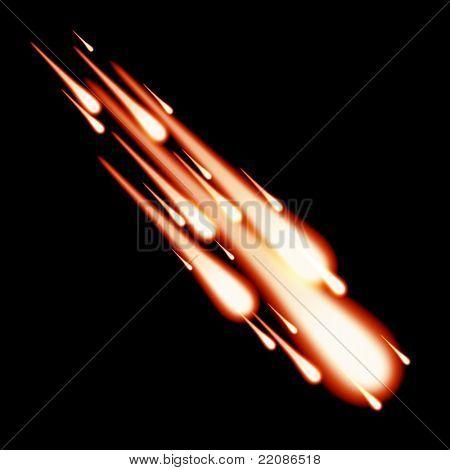 Burning meteor in the sky
