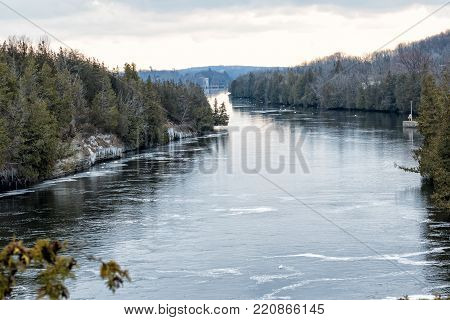 The Trent River at Campbellford, Ontario, Canada in Winter