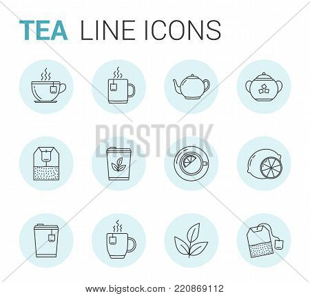12 Tea line icons in circles - tea bags, tea cups and mugs, leaves, lemon, sugar, teapot, vector eps10 illustration