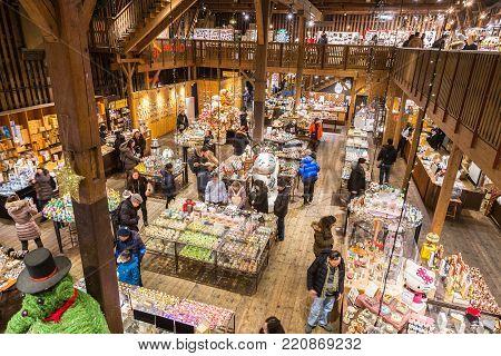 Otaru, Hokkaido, Japan - 30 December 2017 - Tourists and visitors enjoy their shopping at Musicbox Musuem store in Otaru, Hokkaido, Japan on December 30, 2017