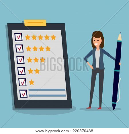 Happy businesswoman holding pen looking at questionnaire on clipboard. Concept illustration of customer testimonials, business, vote, feedback, review support, rating. Technology, methods of voting.