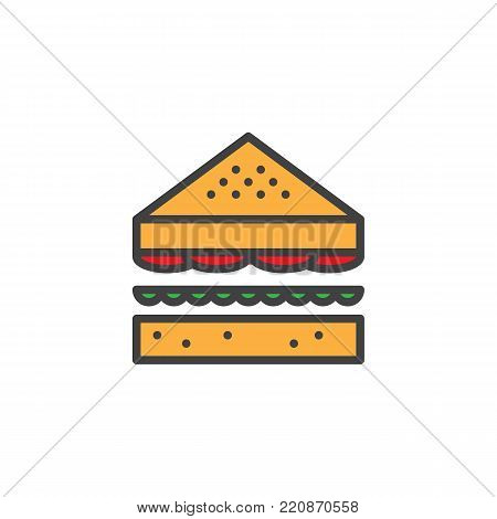Sandwich filled outline icon, line vector sign, linear colorful pictogram isolated on white. Triangular bread symbol, logo illustration. Pixel perfect vector graphics
