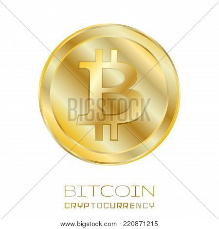 Bitcoin. Physical bit coin. Digital currency. Cryptocurrency. Golden coin with bitcoin symbol isolated on white background.