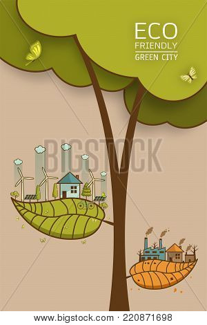 The different of Environmentally landscape factory and forest ,green earth- ecology concept green information with ecology and green city of energy saving or clean energy with green collection.