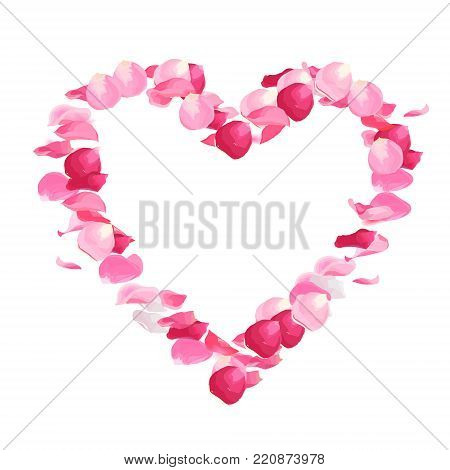 Pink rose petals vector design heart shaped frame.Flying in the air flowers petal on white background.Wedding celebration.Stylish fashion backdrop.Saint Valentines template.All elements are isolated