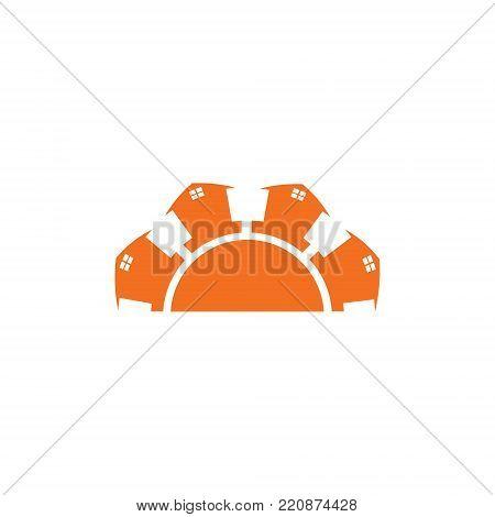 half circle with real estate Symbols logo design elements