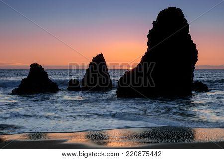Sea Stacks Sunset at Rodeo Beach. Marin Headlands, California, USA.