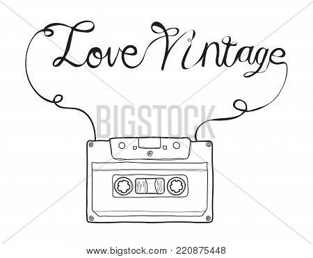 Compact Cassette, Musicassette  hand drawn.love vintage vector , cassette tape, audio cassette with analog magnetic tape  illustration line art