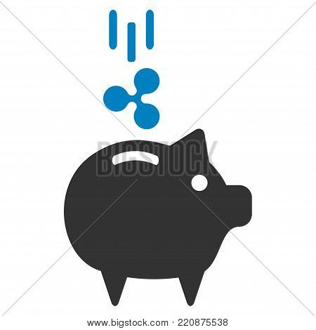Ripple Piggy Bank flat vector icon. An isolated ripple piggy bank symbol on a white background.