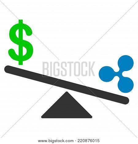 Dollar Ripple Swing Balance flat vector icon. An isolated dollar ripple swing balance icon on a white background.
