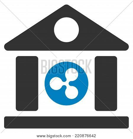 Ripple Bank Building flat vector icon. An isolated ripple bank building icon on a white background.