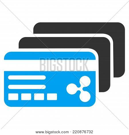 Ripple Banking Cards flat vector icon. An isolated ripple banking cards illustration on a white background.