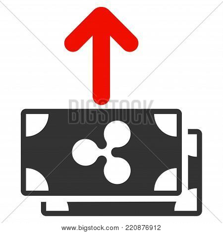 Ripple Banknotes Pay Out flat vector icon. An isolated ripple banknotes pay out pictograph on a white background.