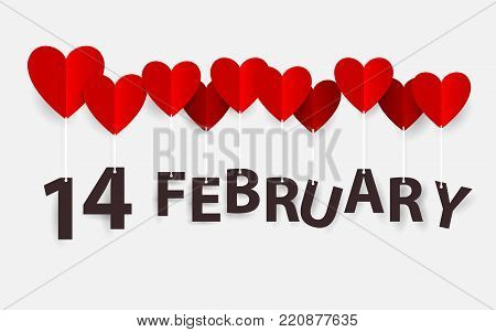 14 February hanging with Red Heart Balloons. Happy valentines day. Paper art and craft style