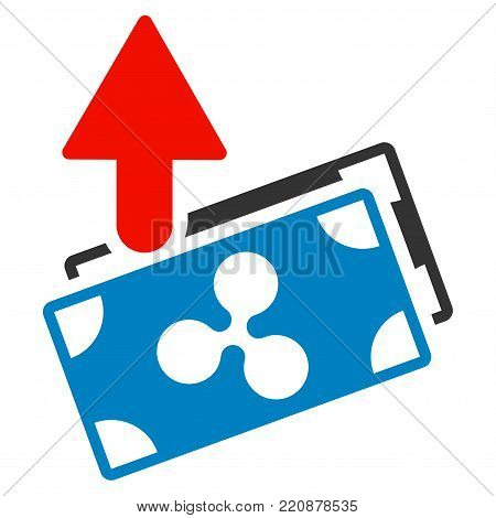 Ripple Expences Banknotes flat vector icon. An isolated ripple expences banknotes icon on a white background.