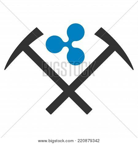 Ripple Mining Hammers flat vector icon. An isolated ripple mining hammers symbol on a white background.
