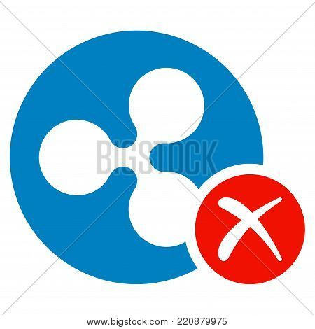Ripple Reject flat vector icon. An isolated ripple reject icon on a white background.