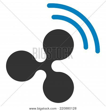 Ripple Source Signal flat vector icon. An isolated ripple source signal pictograph on a white background.