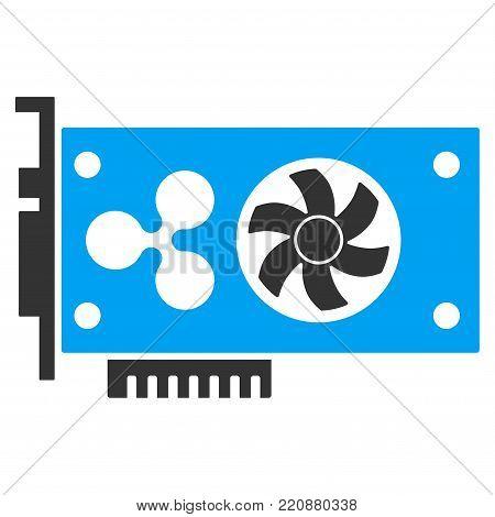 Ripple Video Gpu Card flat vector icon. An isolated ripple video gpu card illustration on a white background.