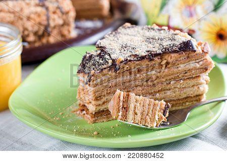 Honey cake with vanilla cream (Russian Honey Cake Medovik)